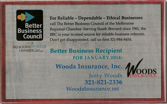 Woods Insurance Better Business Recipient January 2014