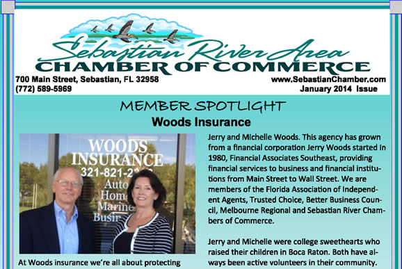 Woods Insurance Sebastian River Chamber of Commerce Member Spotlight 2014